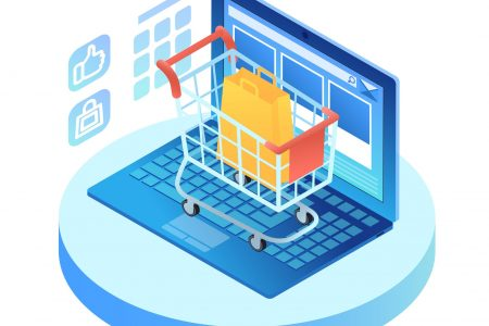Isometric laptop with shopping cart on keypad. Open portable computer with internet browser interface on screen. Online shopping concept. Infographic vector illustration on  ultraviolet background
